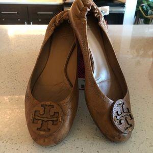 COPY - Tory Burch Tan Leather Reva Flat Sz 10